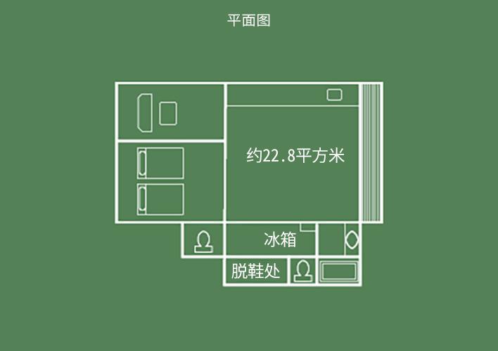 飞天馆 日式客房床铺卧室 平面图