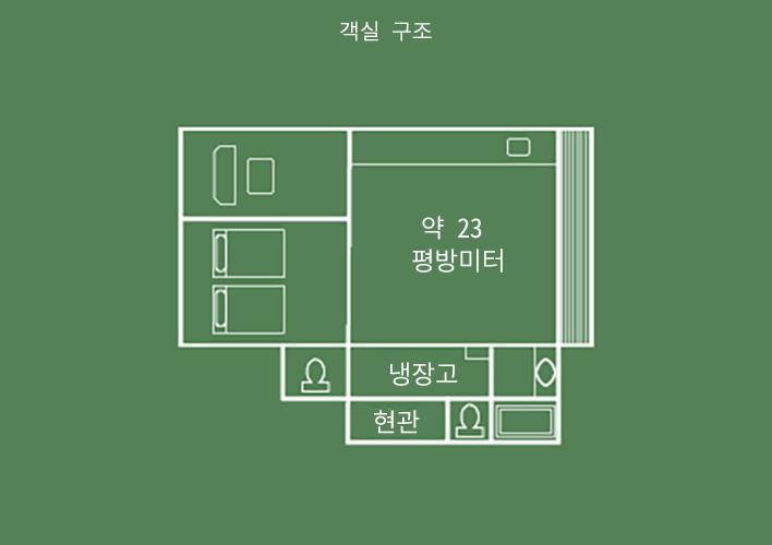 히텐칸 다다미&침대 룸 객실 구조
